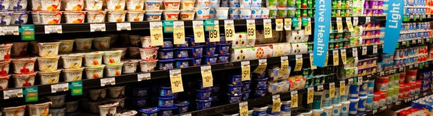 The many choices of yogurt at a supermarket!
