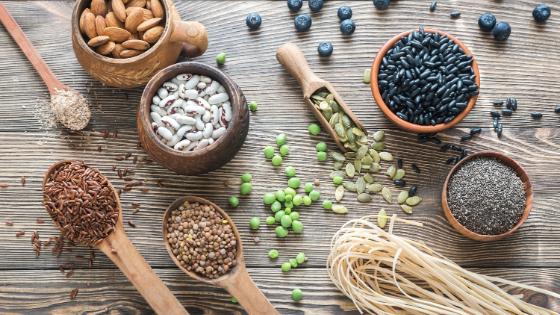 soluble fiber: nuts, grains, seeds